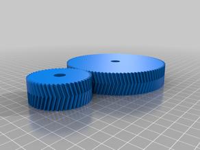 2 Meshing Gears OpenSCAD (Spur, Helical, or Herringbone)