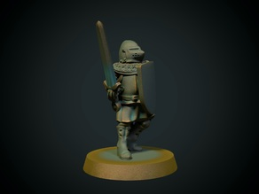 Knight with pig-faced helmet 28mm (FDM, no supports needed)
