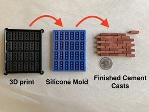 Miniature brick model for creating a silicone mold to cast resin or cement bricks
