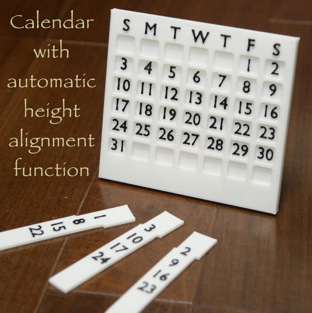 Perpetual Desk Calendar with automatic height alignment function