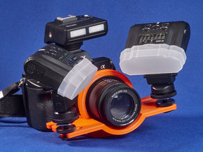 Bracket for Sony 50 mm macro lens and Meike macro flash kit. Type B.