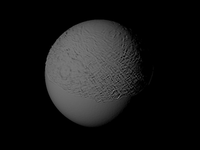 Umbriel with approximate topography scaled one in ten million