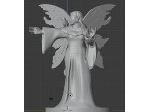 Fairy Female Wizard with Raven Familiar