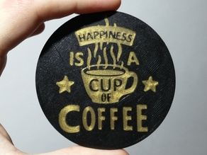 Coffee Happiness coaster - Multipass multicolor print