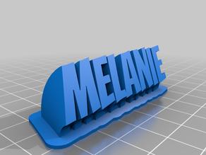 Melanie name plate