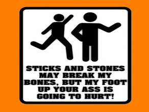STICKS AND STONES MAY BREAK MY BONES, BUT MY FOOT UP YOUR A$$ IS GOING TO HURT! SIGN