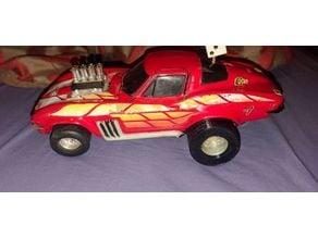 1985 Matchbox battery operated Hot-1 HotRod Racer Red Corvette rear drag tire
