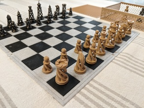 Thin Sectioned Chess Board with Box