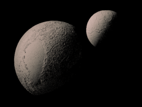 Pluto and Charon with known topography scaled one in ten million