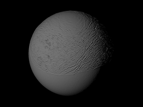 Titania with approximate topography scaled one in ten million