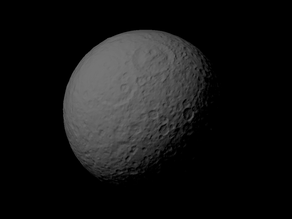 Rhea with known topography scaled one in ten million