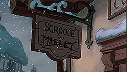 Mickey's Christmas Carol Scrooge Sign