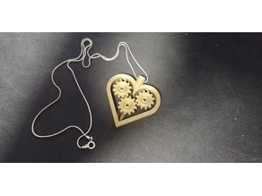 Spinning Heart Gear Necklace (Print In Place)