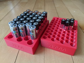 3D Printed AA and AAA Battery Trays