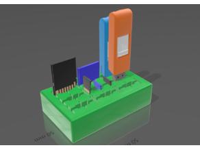 Parametric USB SD microSD card organizer holder