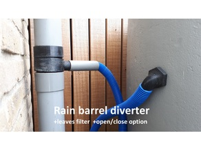 Rain barrel diverter + leaves filter + on/off option