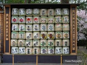 Japanese cask sake temple offering