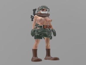 Shirtless female soldier