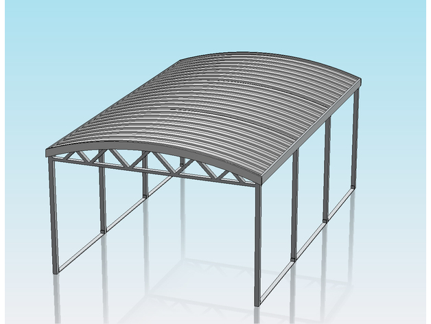1 32 Scale Curved Roof Carport By Shane54 Thingiverse