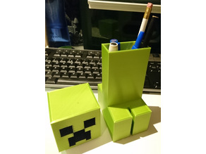 MineCraft Creeper Pen / Pencil Holder / Pot With Removeable Head