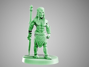 Elf barbarian warrior 28mm glaive / sword