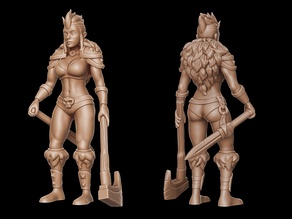 Barbarian girl 2 (28mm DnD miniature)