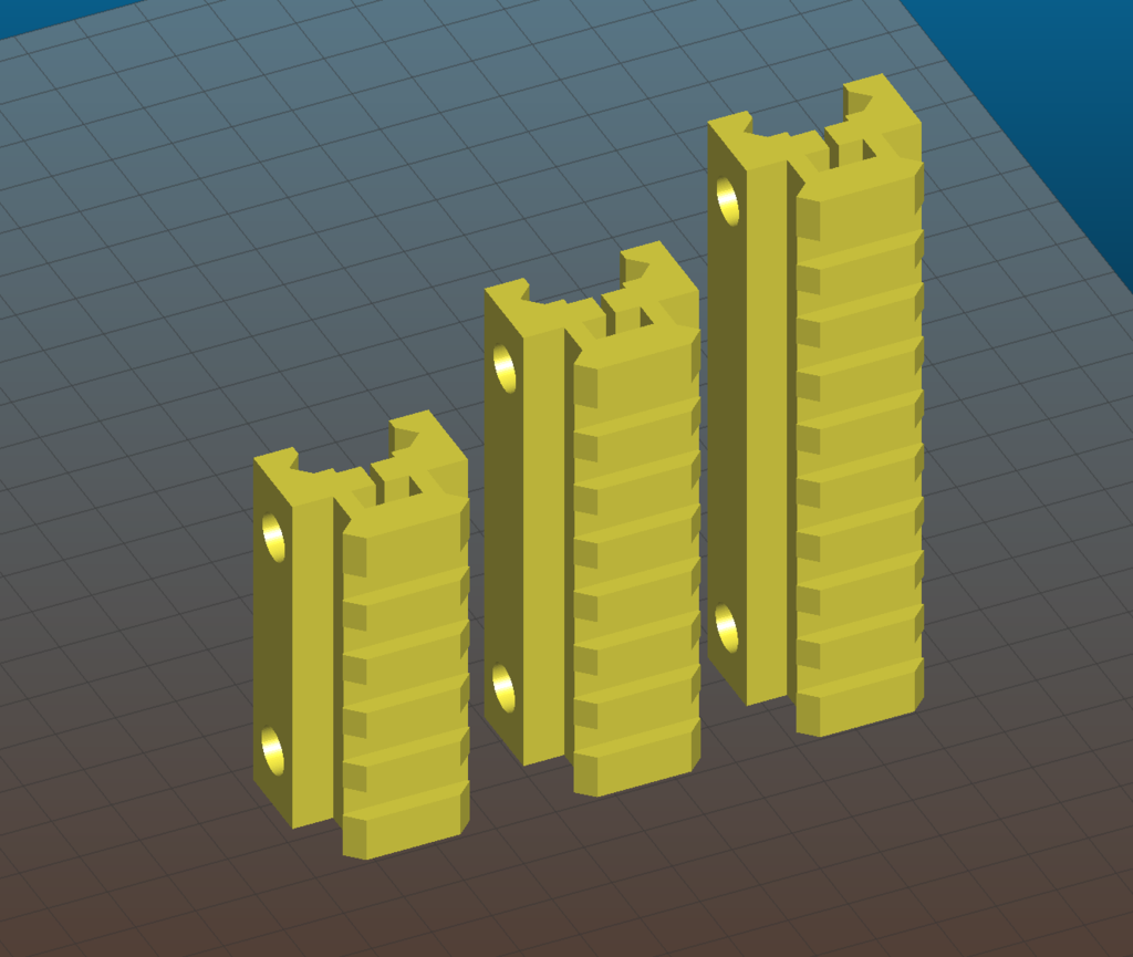 Picatinny riser for AR15, M4, M16, AK - 80mm and 100mm length, 7 and 9 slots, 20mm height
