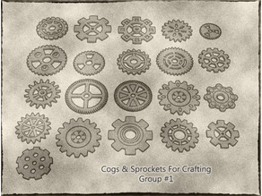Cogs, Gears and Sprockets Group 1 [21 different styles and sizes] for Crafting Steampunk ,Mechanical ,Warhammer 40k theme terrain