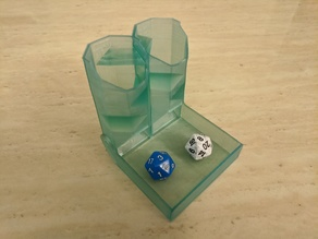 Double barrel foldable hex dice tower