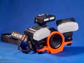 Bracket for Sony 50mm macro lens and Meike macro flash kit. Type A.