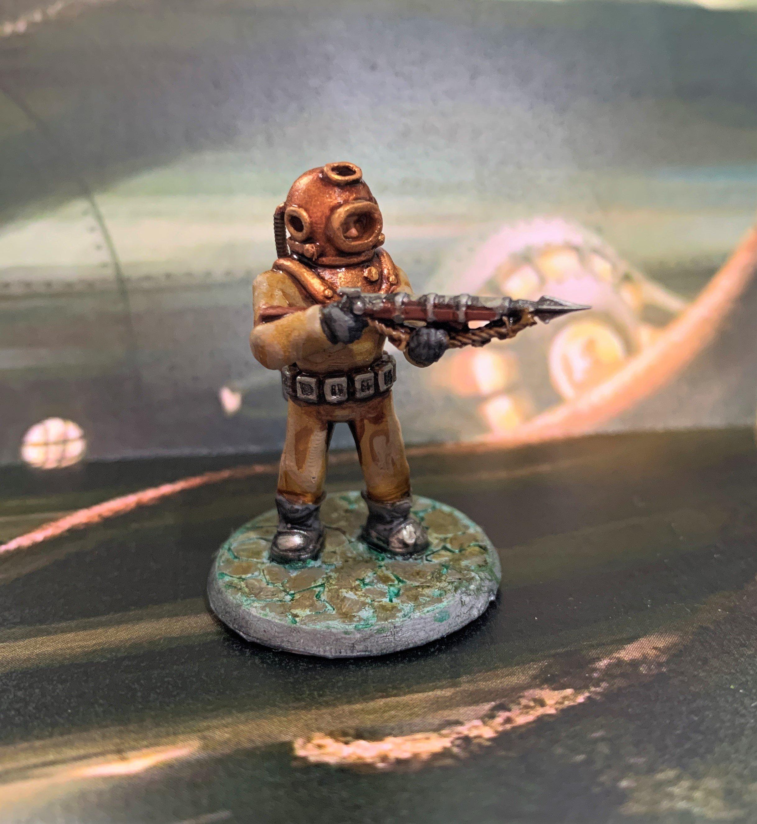 28mm Sci Fi Deep Sea Diver with Harpoon Gun