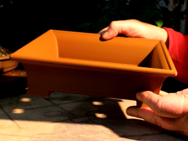 Bonsai Pot Plain Rectangular Curved Sides No 1 By Nigel Saunders Thingiverse
