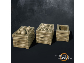 Crates with fruit and vegetables