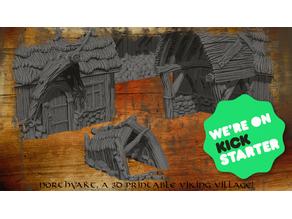Northvakt a viking village, Kickstarter! promo doghouse model.
