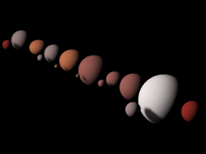 Largest TNOs and their moons shapes scaled one in ten million