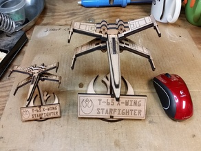 X-wing laser cut from 5.3mm wood K40 Inkscape