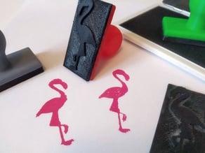 Flamingo Rubber Stamp
