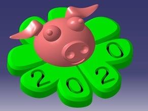 Glücksbringer 2020; Klee Schweinchen; clover pig; New Year 2020;