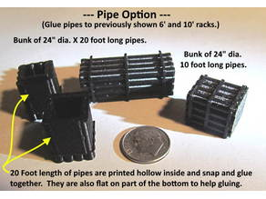 N Scale - Bunk of 16 pipes - 24 inch dia. X 20 feet long -- Use on switch machine or other places.