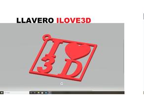 KEY CHAIN I LOVE 3D