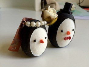 Penguin Groom with cylinder & Bride (two halves)