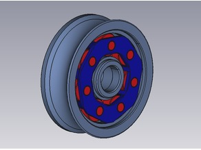 Pulley wheel with roller bearing