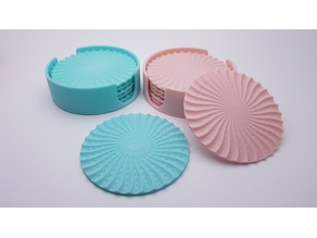 Radial drinks coasters with holder