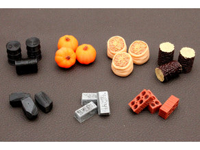 Board Game resources, Food-Grain, Pumpkin, Wood, Metal-Iron, Coal, Brick-Clay and Oil Tokens