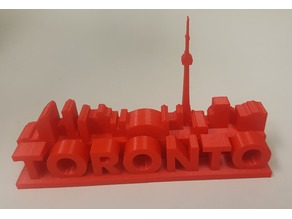 Toronto Skyline and Sign Letters Magnet or Paperweight