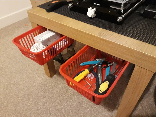 Basket to drawer runners for ikea lack table for Ikea basket drawers