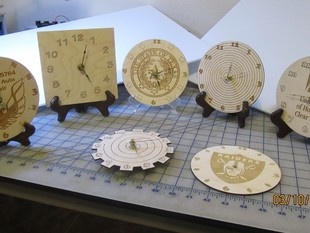 Clocks Clocks and more Clocks. Laser Cut