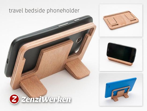 Travel Bedside Phoneholder cnc/laser by ZenziWerken