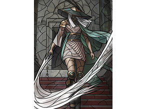 The Wanderer - stained glass - litho