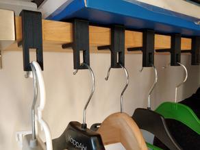 Clothes hanger hook for IKEA Ekeby shelves